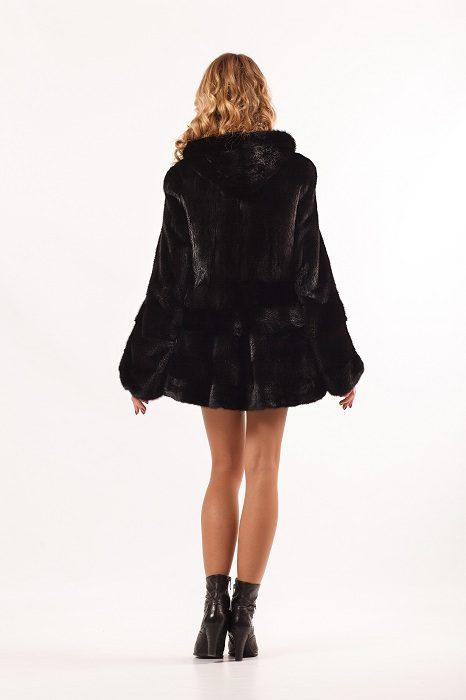 Норковая шуба Ламбада, цвет черный, капюшон, вид сзади
